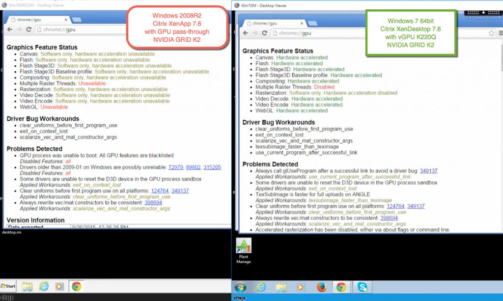 browser - chrome xd vs xa gpu - 2008R2 vs Win7