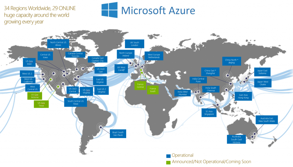 Microsoft azure data center locations